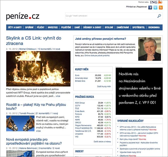 Peníze.cz - ukázka nového designu